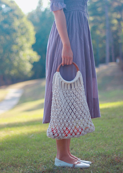 Peachlady Crafts Handmade Macrame Straw Handbag