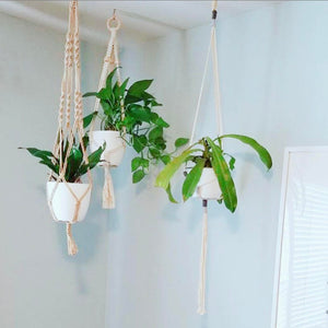 Handmade macrame plant hangers with wooden beads