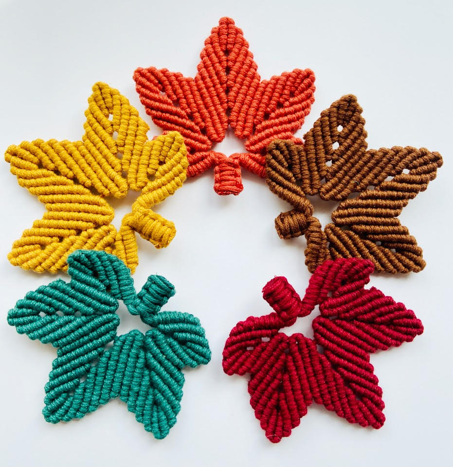 Maple Leaf Macrame Coaster / Candle Decor DIY Kit with Tutorials and Pattern