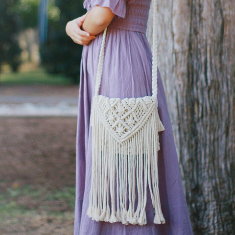 Bohemian Style Macrame Crossbody Shoulder Purse - Long Fringe