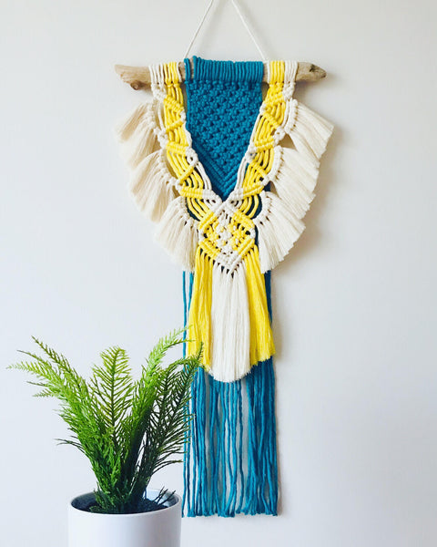 Peachlady Crafts Handmade Macrame Color Combo Vintage Boho Wall Hanging | Home Decor