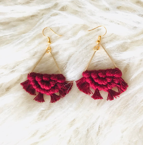 Handmade macrame earrings triangle half circle