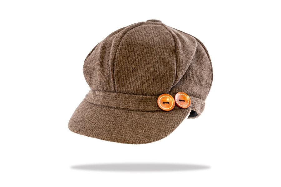 Women's Baker Boy Cap in Taupe - The Hat Project