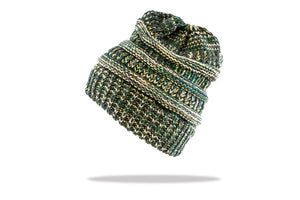 Women's Ponytail Beanie in Green - The Hat Project