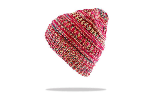 Women's Ponytail Beanie in Pink Mix - The Hat Project