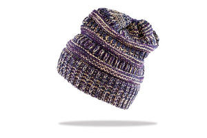 Women's Ponytail Beanie in Purple - The Hat Project