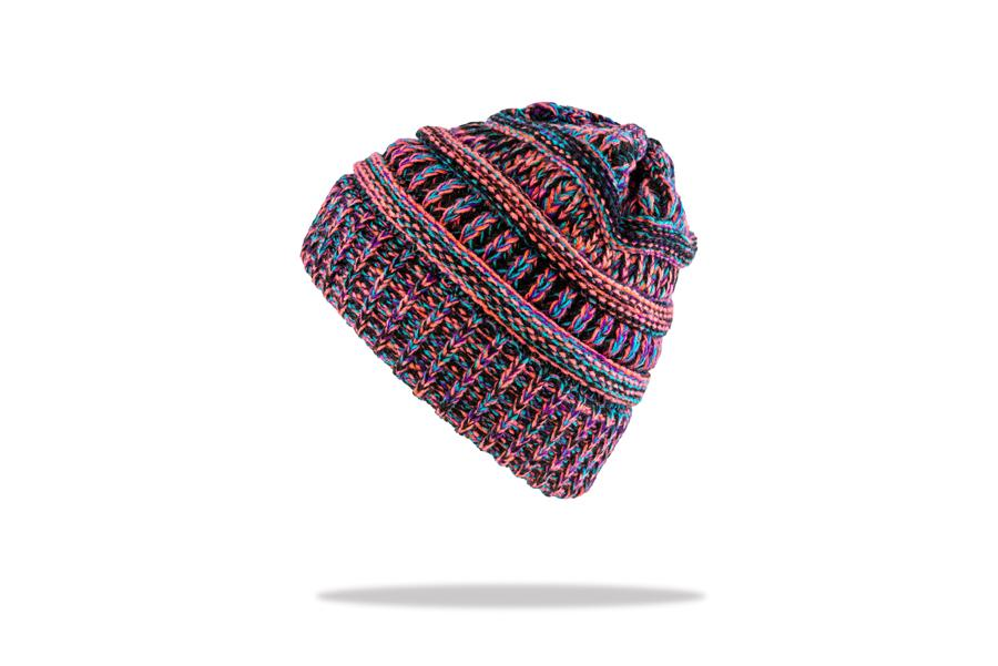 Women's Ponytail Beanie in Purple Mix