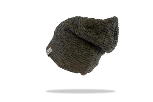 Men's Plush Lined Slouch Beanie in Black - The Hat Project