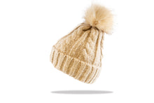 Load image into Gallery viewer, Beanie Pom Pom Cable in Oatmel