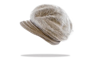 Women's Angora Blend Plush Lined Cap in Cloud - The Hat Project