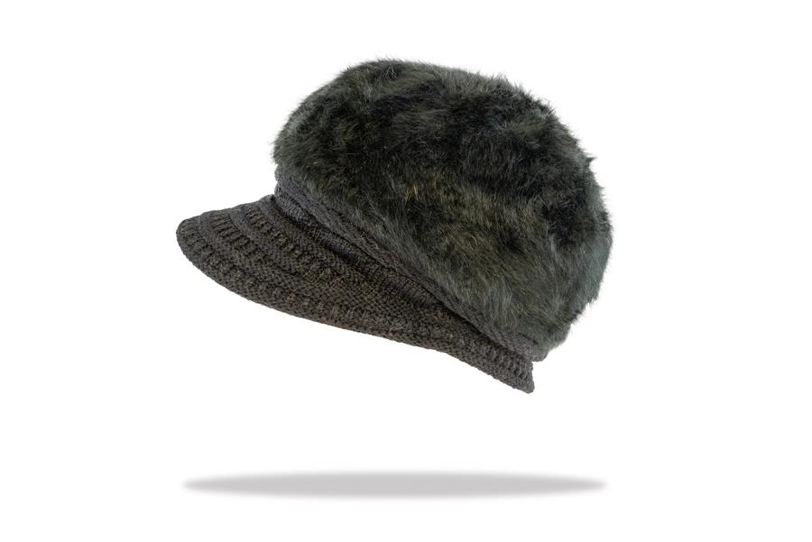 Women's Angora Blend Plush Lined Cap in Ebony