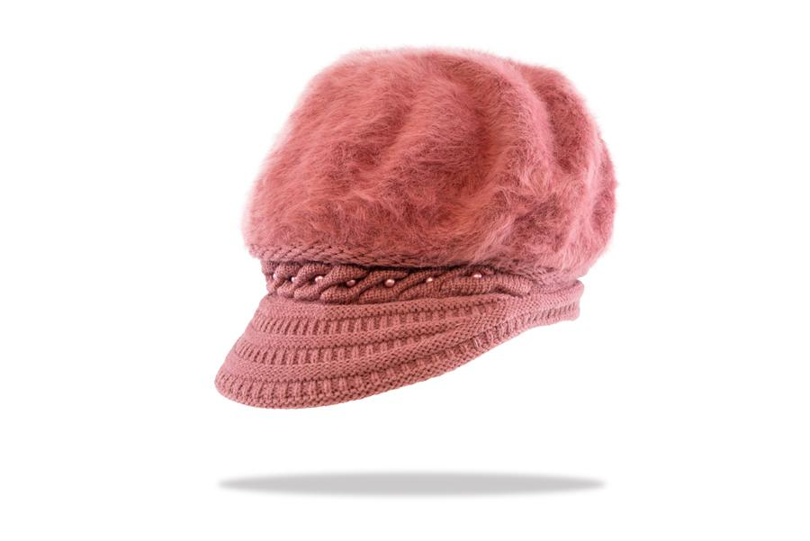 Women's Angora Blend Plush Lined Cap in Rose - The Hat Project