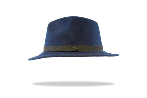 Men's Wool Felt Fedora in Navy - The Hat Project