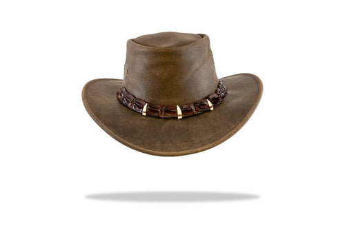 Leather hat with crocodile band and teeth - The Hat Project