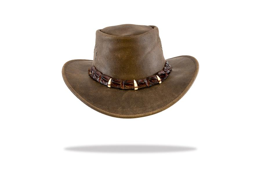 Leather hat with crocodile band and teeth