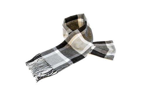 Men's Grey Checkered Scarf - The Hat Project
