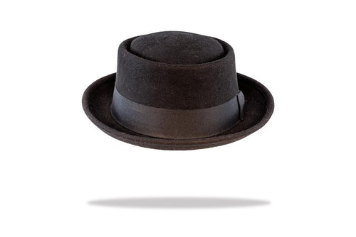 Round Crown Porkpie Hat in Black - The Hat Project