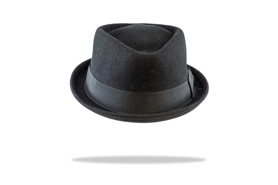 Wool Felt Porkpie Hat in Black