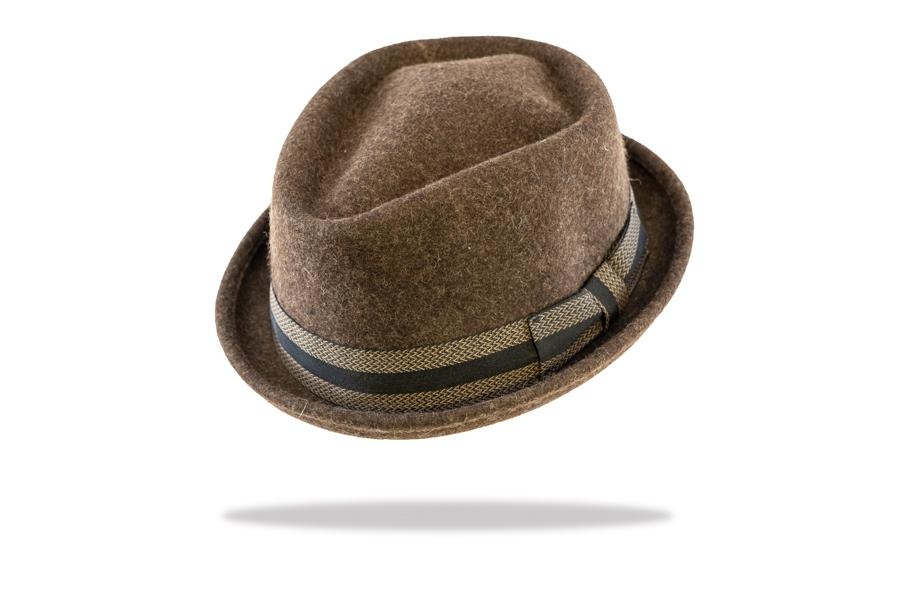 Wool Felt Porkpie Hat in Brown