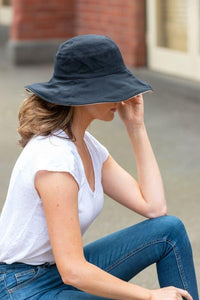 women's black reversible sun hat cotton
