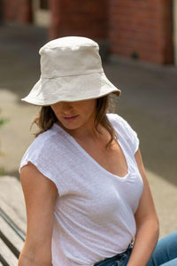 women's reversible white bucket hat