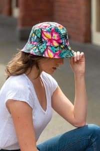 women's reversible floral hibiscus bucket hat