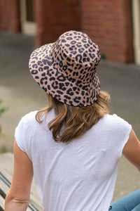 women's reversible leopard bucket hat
