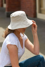Load image into Gallery viewer, women's white reversible bucket hat cotton