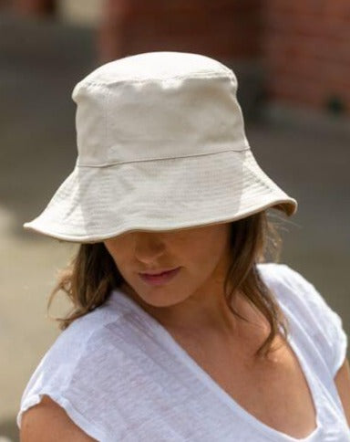 women's white reversible bucket hat cotton
