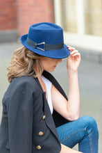Load image into Gallery viewer, Women's Blue Trilby Wool Felt Hat with Black Band