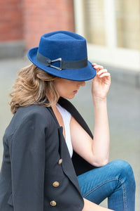Women's Blue Trilby Wool Felt Hat with Black Band