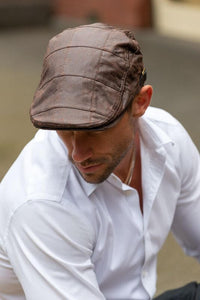 Men's Brown Leather Flat Cap