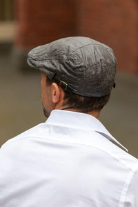 Men's Grey Leather Flat Cap