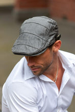 Load image into Gallery viewer, Men's Grey Leather Flat Cap