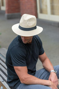 Men's Straw Hat with Black Band