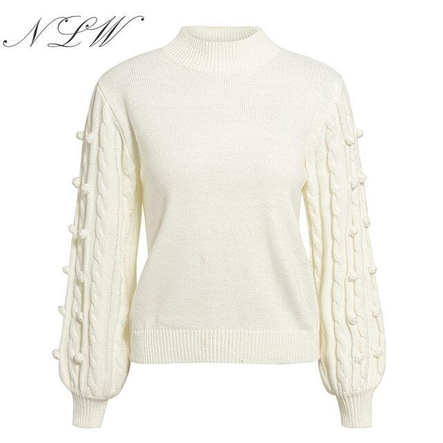 NLW Women White Knitted Sweater Autumn Winter Top Lantern Sleeve Kintwear Jumper 2019 Fashion Female Oversized Pullover Sweater