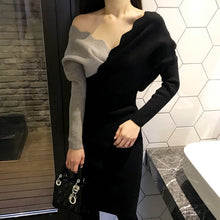 Load image into Gallery viewer, Sweater Dress Autumn Winter Knitted Bodycon Women V Neck Long Sleeve Pencil Elastic Slim  Dress