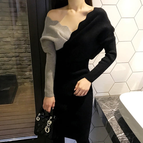 Sweater Dress Autumn Winter Knitted Bodycon Women V Neck Long Sleeve Pencil Elastic Slim  Dress