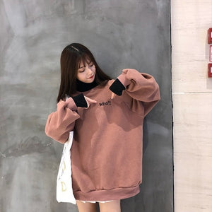 Hoodies Women Autumn Winter Trendy Embroidery Korean Style Simple Casual Kawaii Ulzzang Oversize Womens Clothing Chic Streetwear