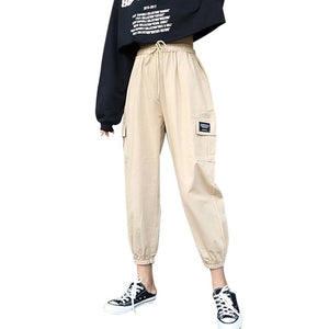 Harajuku Spring Streetwear Ladies Pants Women Men Casual Solid Big Pocket Pants High Waist Loose Trousers pantalones mujer