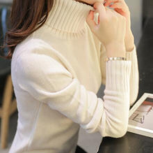 Load image into Gallery viewer, 2019 New Autumn winter Women Knitted Sweaters Pullovers Turtleneck Long Sleeve Solid Color Slim Elastic Short Sweater Women