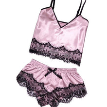 Load image into Gallery viewer, Fashionable Womens Sleepwear Sexy Satin Nightdress Sling Lingerie Lace Bowknot Nightwear Summer Sling V-neck Nightdress пижама