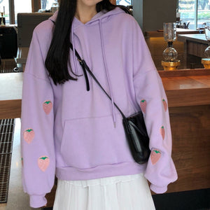 Harajuku Strawberry Embroidery Lavender White Sweatshirt Autumn Winter Women Kawaii Loose Long Sleeves Tops Oversized Hoodies