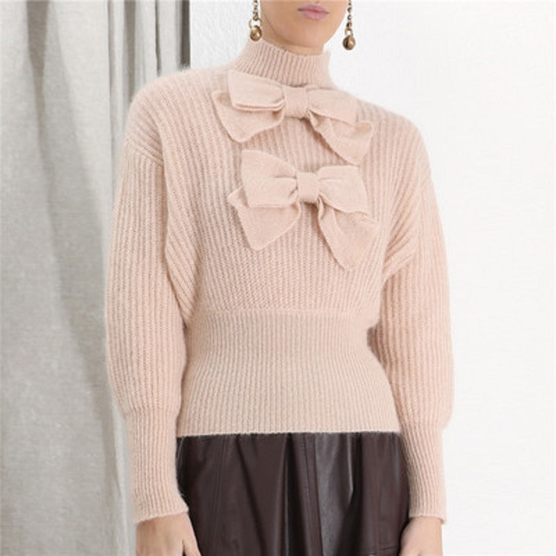 Brand Korean Sweet 2019 Autumn Long-sleeved Bow Patchwork Turtleneck Tops Slim Sweater Women Pullovers Pink Clothes