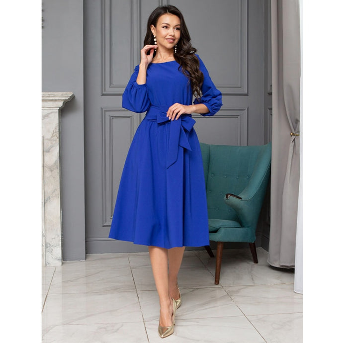 Bandage Party Dress Vintage Bow Tie Women Dress Ladies Lantern Sleeve o Neck Elegant Dress Autumn Fashion Knee Length Dress 2019