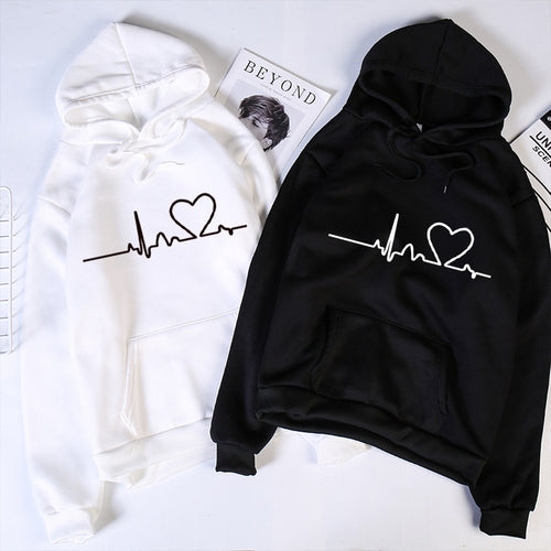 Autumn Winter Fleece Love Printed Letter Harajuku Print Pullover Thick Loose Women Hoodies Sweatshirt Female O-neck Casual Coat