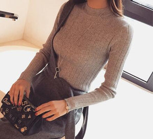 2019 Autumn New Korean Solid Color Joker Crew Neck Slim Fit PulloverThread Knit Basic Women Sweater
