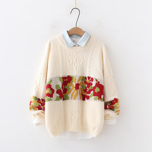 H.SA 2019 Winter Sweaters and Pullover Retro Vintage Twisted Knit Jumpers Floral Patchwork Korean Style Jumpers Retro Pull Femme