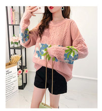 Load image into Gallery viewer, H.SA 2019 Winter Sweaters and Pullover Retro Vintage Twisted Knit Jumpers Floral Patchwork Korean Style Jumpers Retro Pull Femme