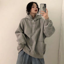 Load image into Gallery viewer, Hoodies Women Hooded Plus Velvet Thicker Long Sleeve Oversize Letter Embroidered Womens Hoodie Harajuku Korean Style Trendy Chic